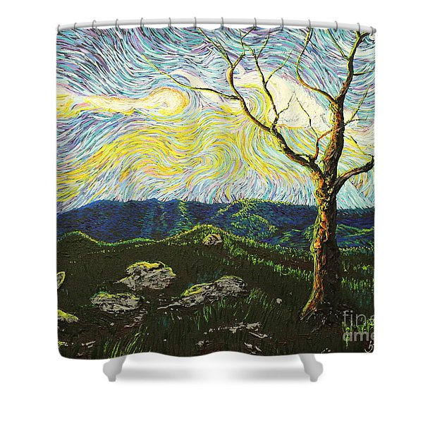 In Between A Rock And A Heaven Place Shower Curtain