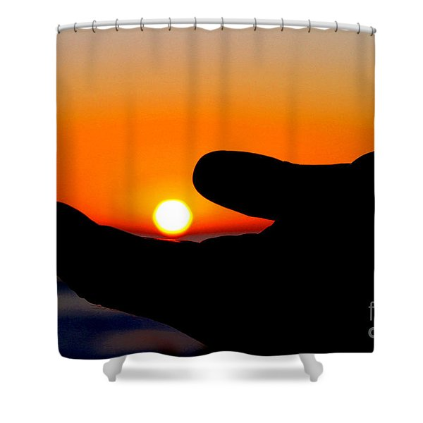 In His Hands By Diana Sainz Shower Curtain