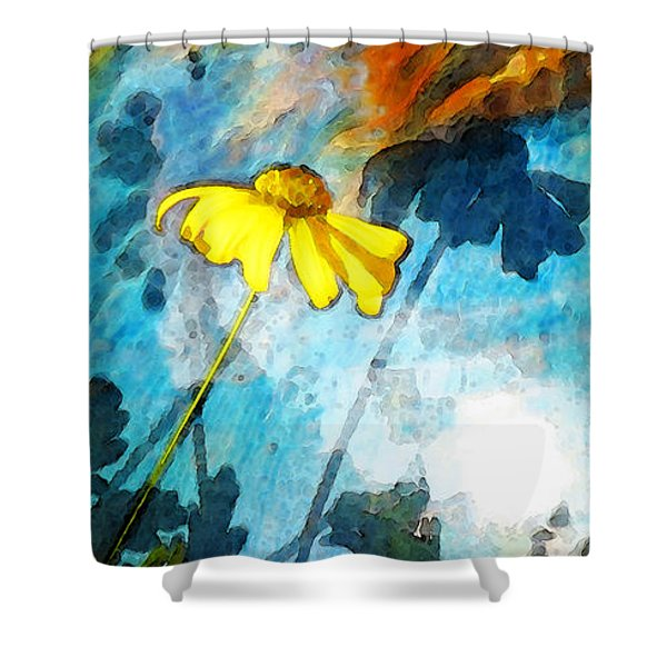 In My Shadow - Yellow Daisy Art Painting Shower Curtain