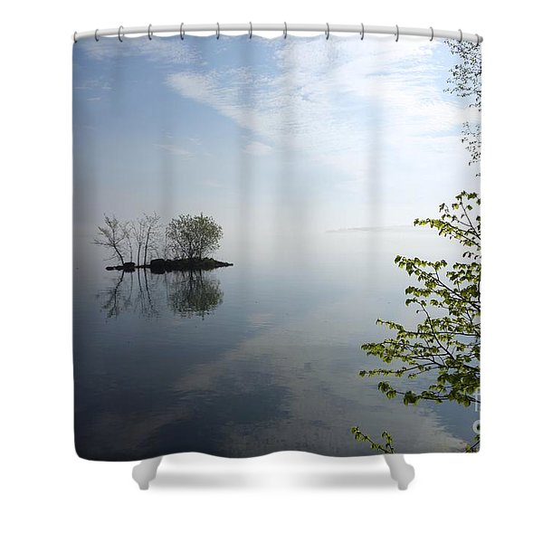 In The Distance On Mille Lacs Lake In Garrison Minnesota Shower Curtain