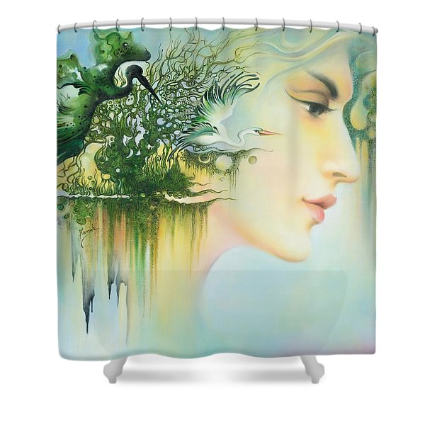 In The Fluter Of Wings-in The Silence Of Thoughts Shower Curtain