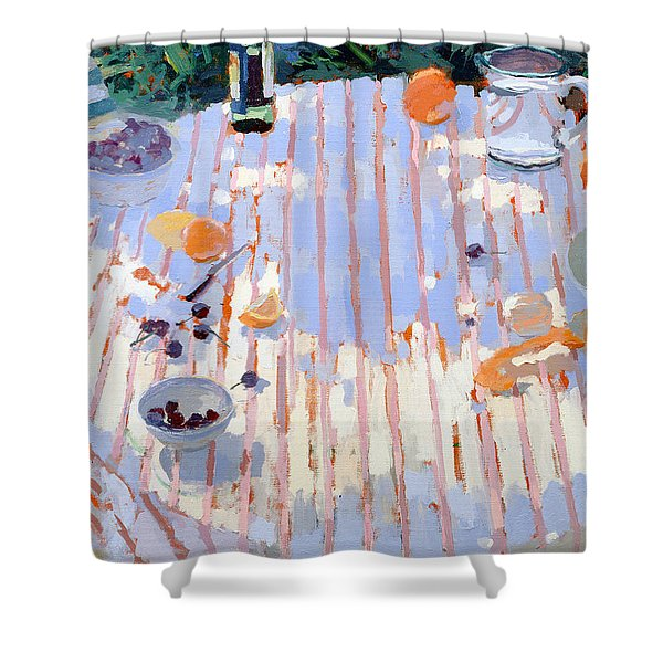 In The Garden Table With Oranges  Shower Curtain