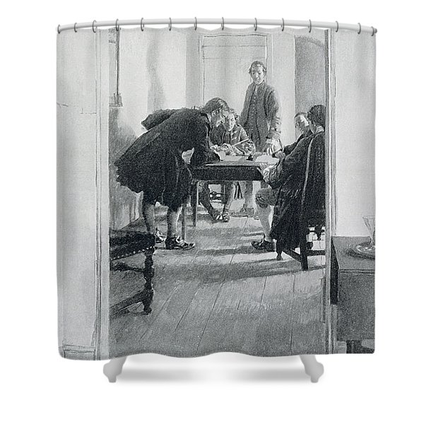 In The Old Raleigh Tavern, Illustration From At Home In Virginia By Woodrow Wilson, Pub. In Harpers Shower Curtain