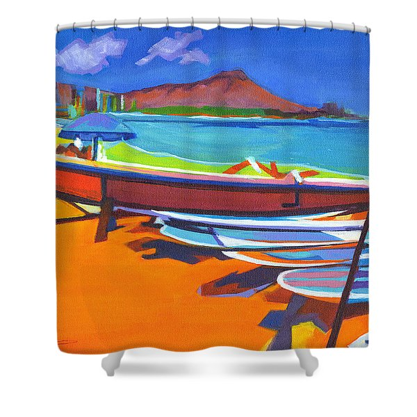 In The Summertime Shower Curtain