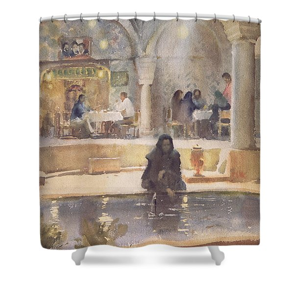 In The Teahouse, Kerman Wc On Paper Shower Curtain