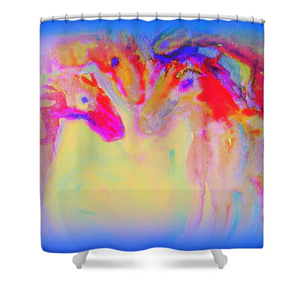 Horse Family Coming Out Of Blue  Shower Curtain