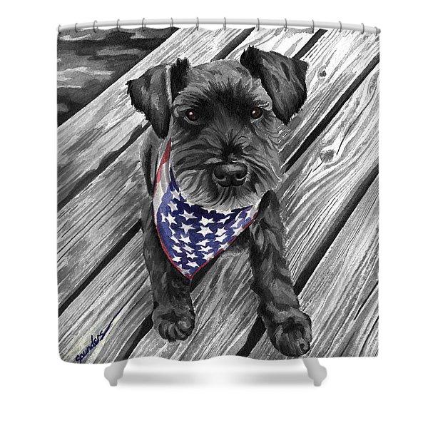 Watercolor Schnauzer Black Dog Shower Curtain