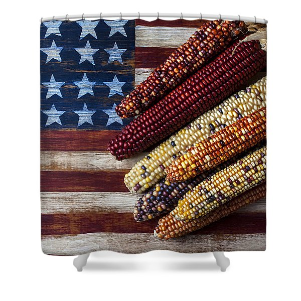 Indian Corn On American Flag Shower Curtain
