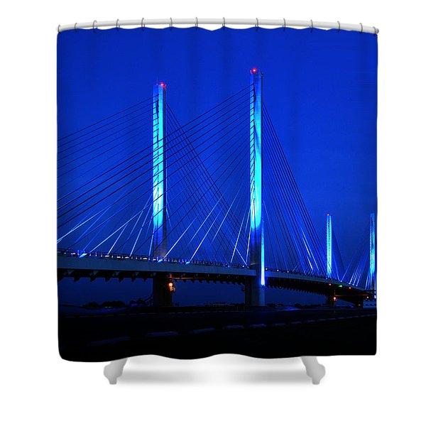 Indian River Bridge At Night Shower Curtain
