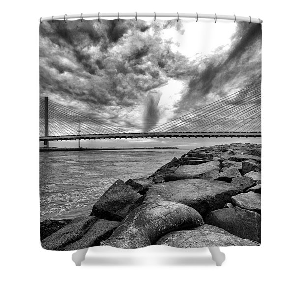 Indian River Bridge Clouds Black And White Shower Curtain