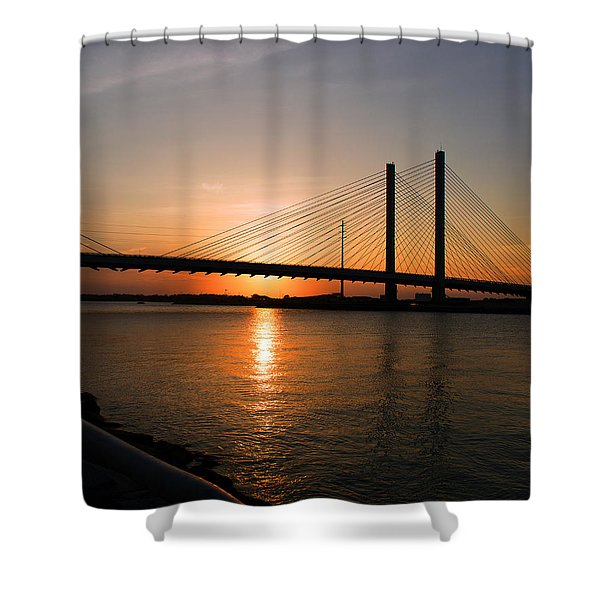 Indian River Bridge Sunset Reflections Shower Curtain
