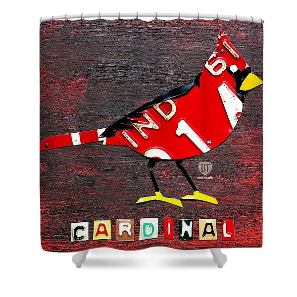 Indiana Cardinal Bird Recycled Vintage License Plate Art Shower Curtain