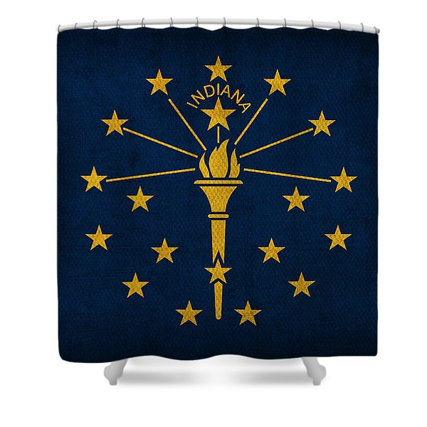 Indiana State Flag Art On Worn Canvas Shower Curtain