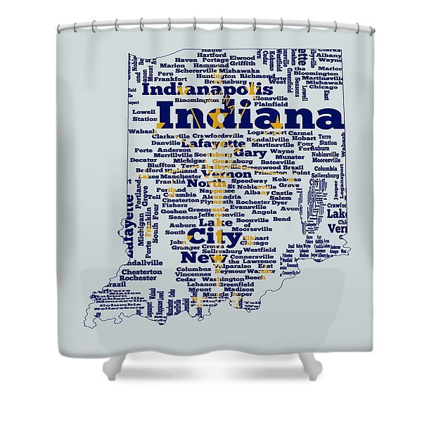Indiana State Flag Word Cloud Shower Curtain
