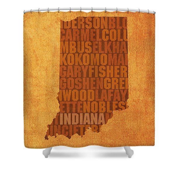 Indiana State Word Art On Canvas Shower Curtain