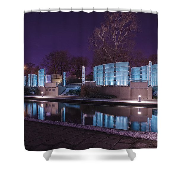 Indianapolis Canal Walk Medal Of Honor Memorial Night Lights Shower Curtain