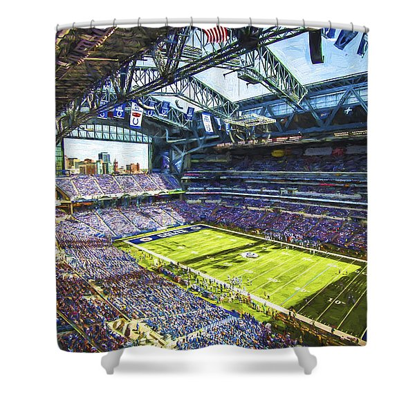 Indianapolis Colts Lucas Oil Stadium Painted Digitally Shower Curtain
