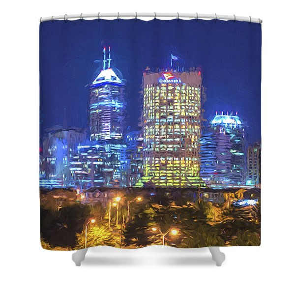 Indianapolis Indiana Digitally Painted Night Skyline Blue 3 Shower Curtain