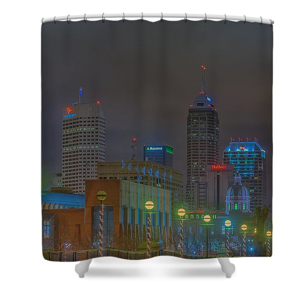 Indianapolis Indiana Night Skyline Fog Shower Curtain
