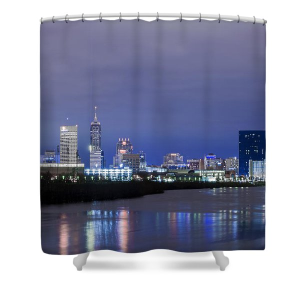 Indianapolis Indiana Night Skyline Winter 2015 Shower Curtain