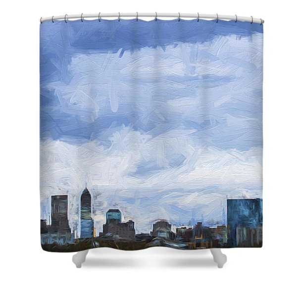 Indianapolis Indiana Painted Digitally Blue 2 Shower Curtain