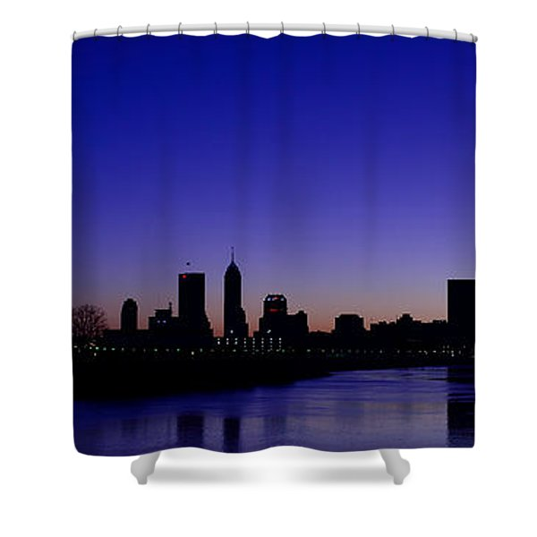 Indianapolis Indiana Panoramic Blue Hour Sunrise Shower Curtain