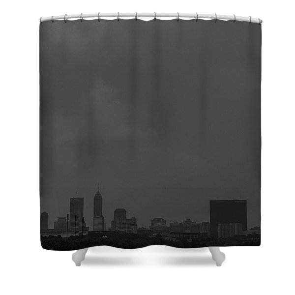 Indianapolis Indiana Raining Black White Grain Shower Curtain
