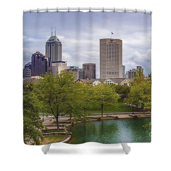 Indianapolis Indiana Skyline 1000 Shower Curtain