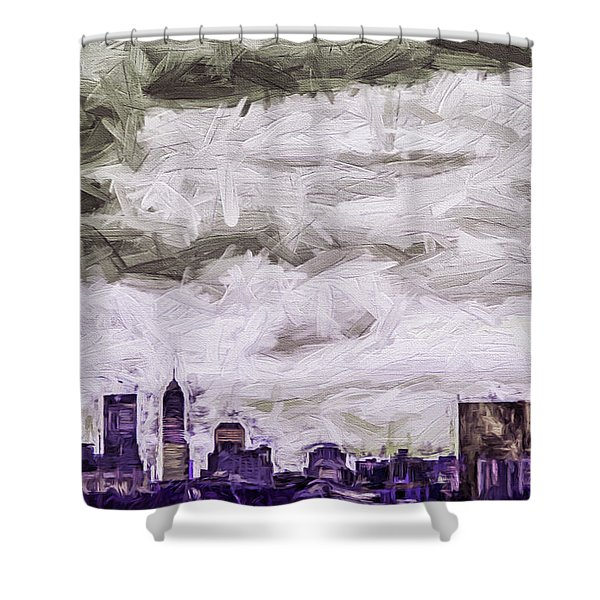 Indianapolis Indiana Skyline Digitally Painted Purple 1 Shower Curtain