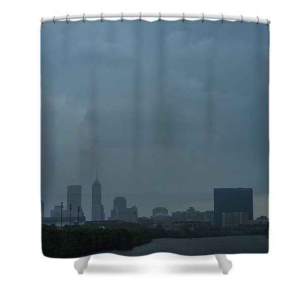 Indianapolis Indiana Skyline During A Rain Downpour Shower Curtain