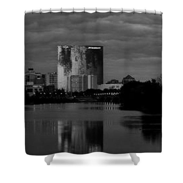 Indianapolis Indiana Skyline Panoramic Black White Shower Curtain