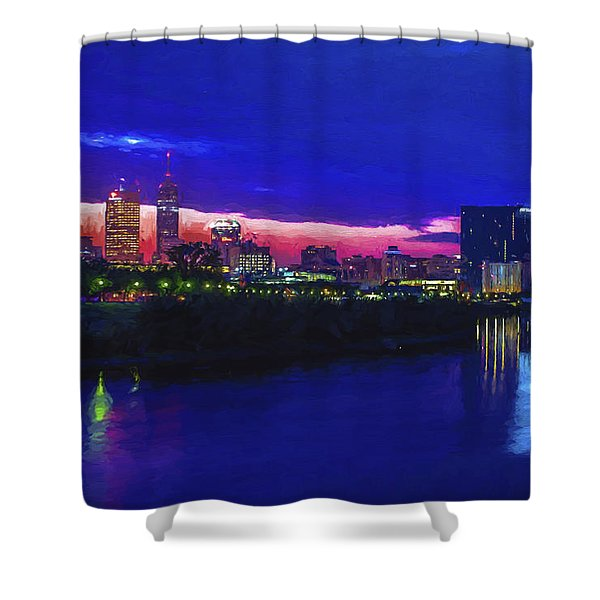 Indianapolis Indiana Skyline Sunrise Digitally Painted Shower Curtain
