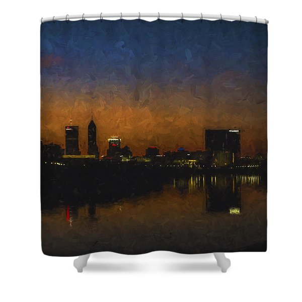 Indianapolis Indiana Skyline Sunrise Square Digitally Painted Shower Curtain