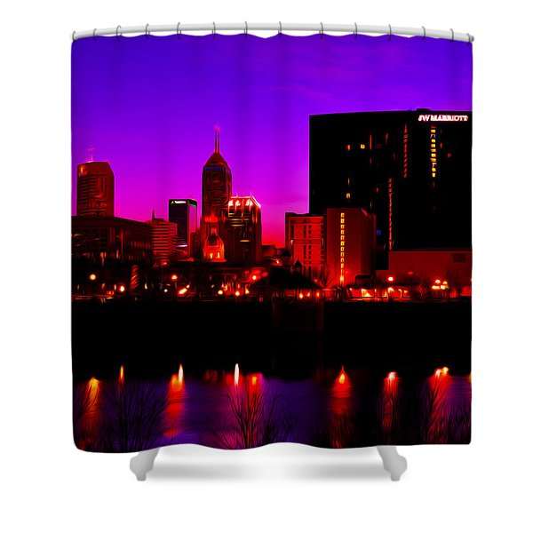 Indianapolis Indiana Skylinedigitally Painted Shower Curtain