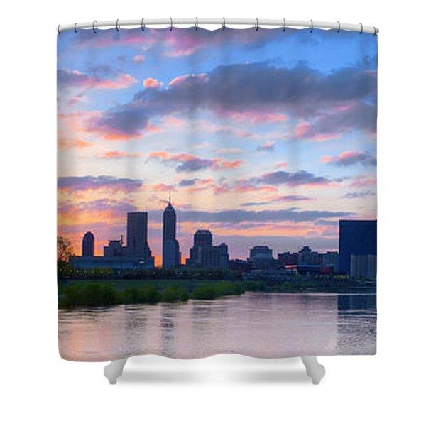 Indianapolis Indiana Sunrise Panoramic Hdr Shower Curtain