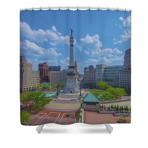 Indianapolis Monument Circle Oil Shower Curtain
