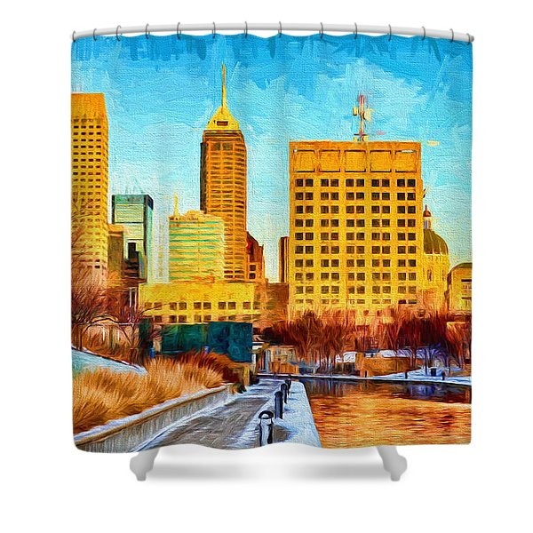 Indianapolis Skyline Canal View Digital Painting Shower Curtain
