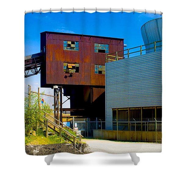Industrial Power Plant Architectural Landscape Shower Curtain
