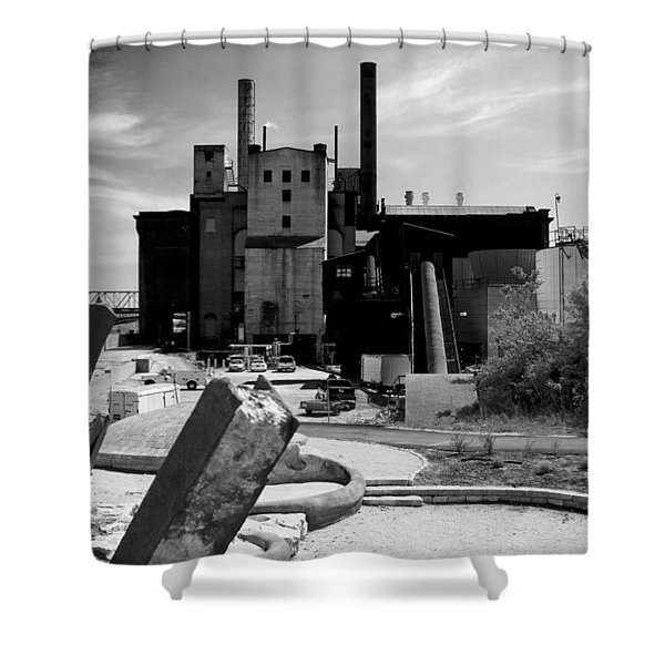 Industrial Power Plant Landscape Smokestacks Shower Curtain