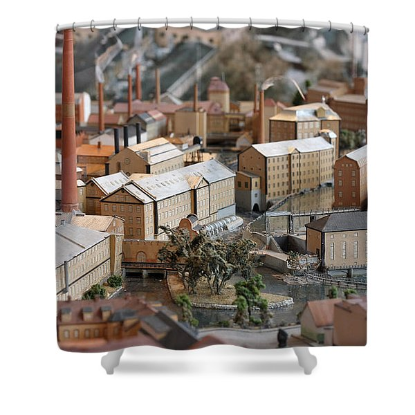 Industrial Town Miniature Model Shower Curtain