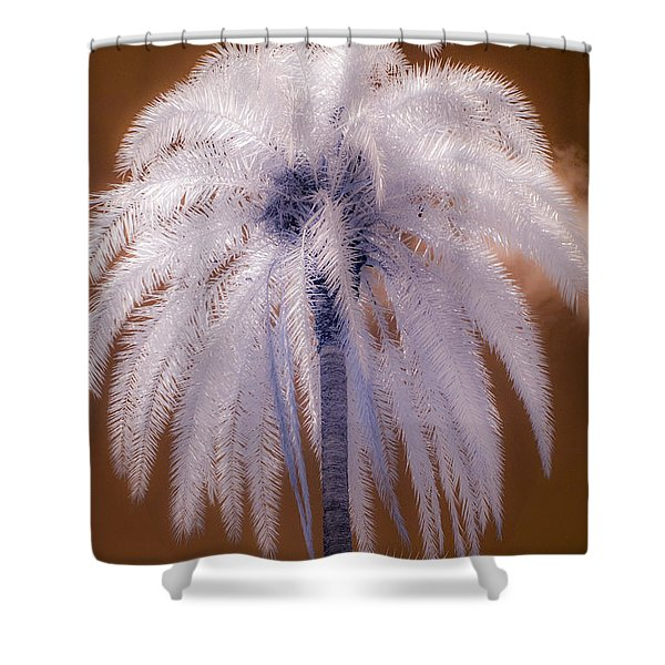 Infrared Palm Tree Shower Curtain