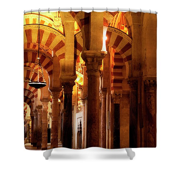 Shower Curtain featuring the photograph Inside The Mezquita by Lorraine Devon Wilke