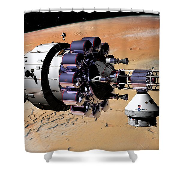 Inspection Over Mars Shower Curtain