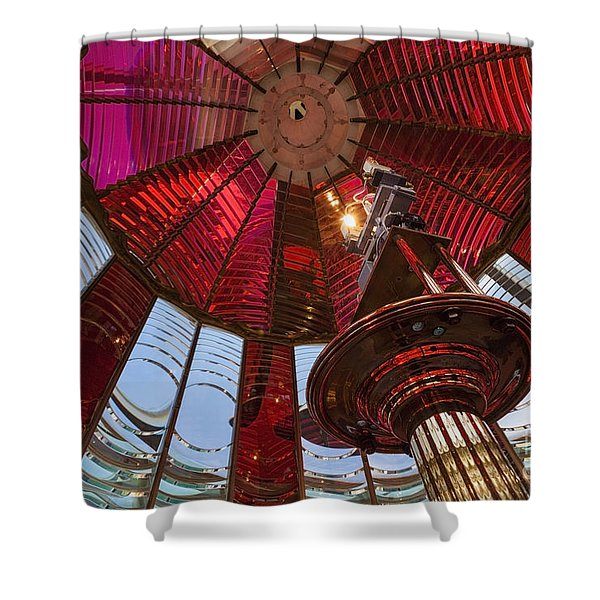 Shower Curtain featuring the photograph Interior Of Fresnel Lens In Umpqua Lighthouse by Bryan Mullennix