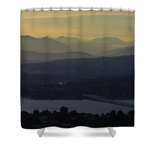 Interstate 90 Morning Light Layers Shower Curtain