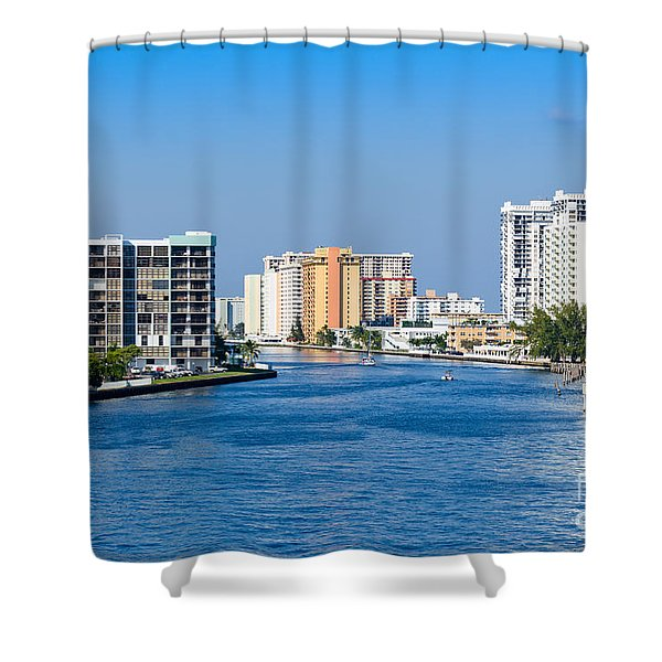Intracoastal Waterway In Hollywood Florida Shower Curtain