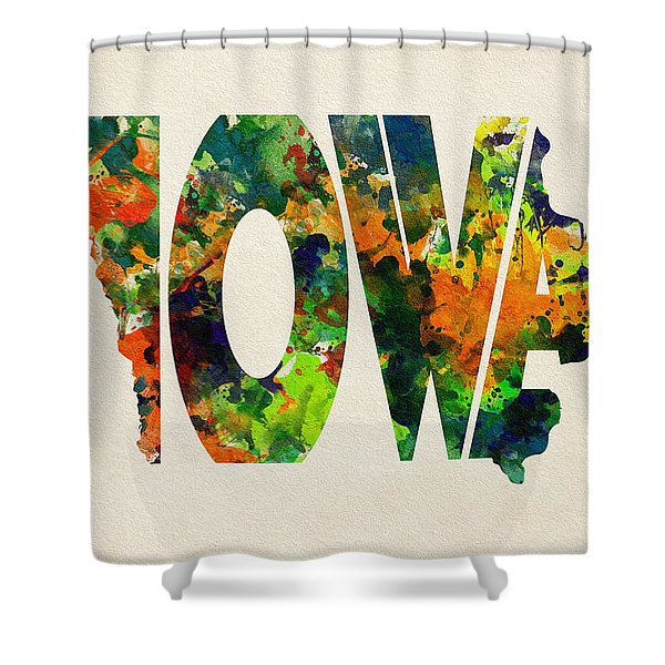 Iowa Typographic Watercolor Map Shower Curtain