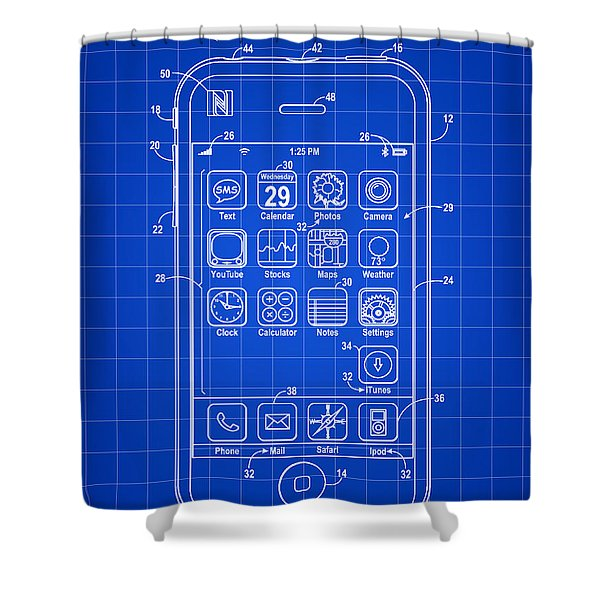 iPhone Patent - Blue Shower Curtain