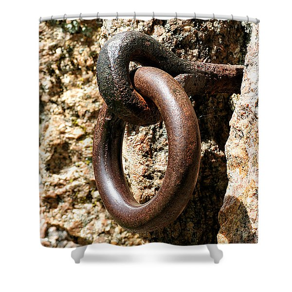 Shower Curtain featuring the photograph Iron Rings In Stone by William Selander