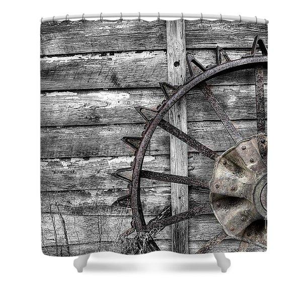 Iron Tractor Wheel Shower Curtain